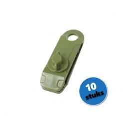 Groene zeilclip, zeilklem, afdekzeil bevestigingsclip - set á 10 stuks